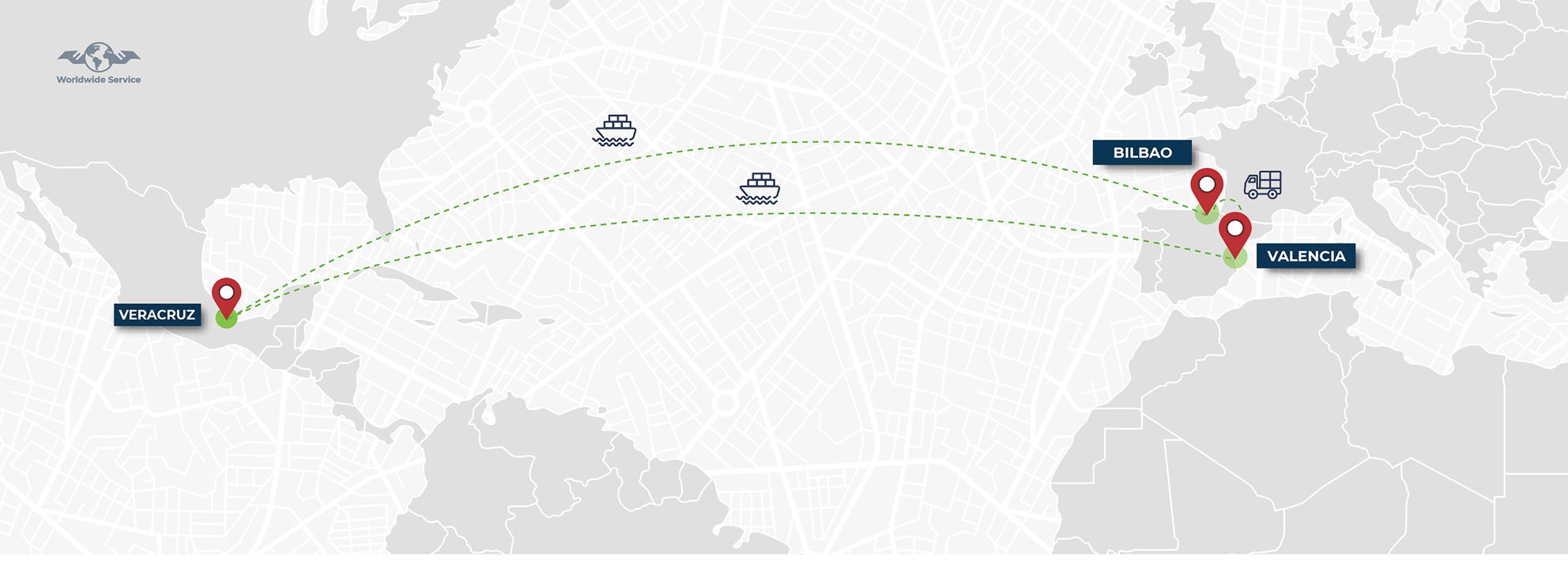 Map showing that part of the silo went from Valencia to Bilbao by Ground freight and the main part left from Valencia. Both arrived in Mexico at the same time!