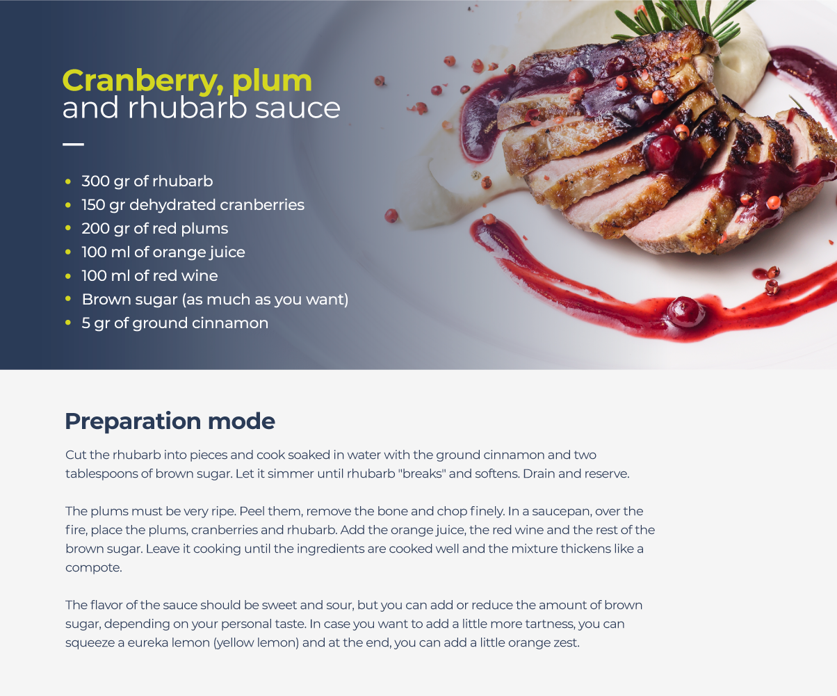 Cranberry, plum and rhubarb sauce